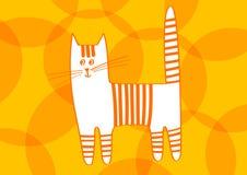 Gato anaranjado rayado de la historieta en fondo con los modelos Fotografía de archivo