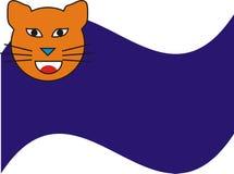 Gato anaranjado y fondo lateral azul Fotos de archivo libres de regalías