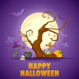 Gato asustadizo en la noche de Halloween stock de ilustración