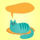 Gato azul abstracto que miente en una manta y una nube de pensamientos doodle Fotografía de archivo libre de regalías