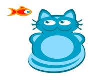 Gato azul e peixes vermelhos - vetor Foto de Stock Royalty Free