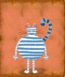 Gato blanco con las rayas azules Imágenes de archivo libres de regalías