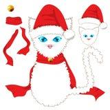 Gato blanco con los ojos azules Santa Hat, bufanda roja de la cinta y Jingle Bell Ball de oro Día de la Navidad Imagenes de archivo