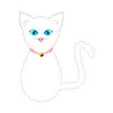 Gato blanco con los ojos azules y el cuello de oro del rosa de Bell de la bola Ilustración del vector Fotos de archivo
