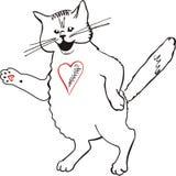 Gato blanco gráfico que va Fotos de archivo libres de regalías