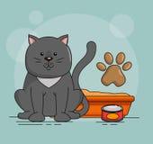 Gato bonito com areia ilustração royalty free