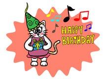 Gato bonito del feliz cumpleaños Imagen de archivo