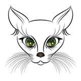 Gato bonito do esboço do gato com os olhos verde-claro do vyrazatelnymi e o bigode espesso longo ilustração do vetor
