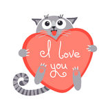 Gato bonito do gengibre dos desenhos animados com coração e declaração ilustração royalty free