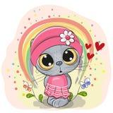Gato bonito dos desenhos animados com arco-íris ilustração royalty free