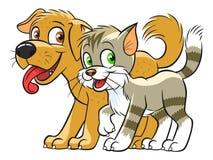 Gato bonito e cão ilustração do vetor
