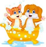 Gato bonito e cão dos desenhos animados que banham o tempo Imagens de Stock Royalty Free