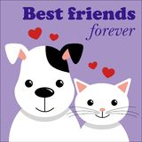 Gato bonito e cão Melhores amigos Ilustração do vetor ilustração stock