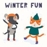Gato bonito e cão no inverno ilustração stock