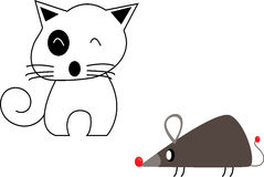 Gato bonito e rato isolados no fundo branco ilustração royalty free