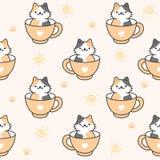 Gato bonito em um fundo sem emenda do teste padrão da xícara de café ilustração do vetor