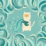 Gato bonito no quadro decorativo colorido do vetor Imagem de Stock