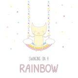 Gato bonito que balança em um arco-íris ilustração do vetor