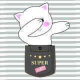 Gato branco adorável que senta-se em um bolso e em um divertimento de toque ligeiro ilustração do vetor