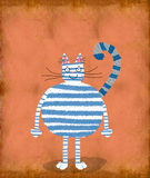 Gato branco com listras azuis Imagens de Stock Royalty Free