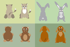 Gato, cão, coelho e urso Foto de Stock Royalty Free