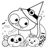 Gato, calabazas e invitaciones de Halloween Página blanco y negro del libro de colorear ilustración del vector