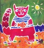 Gato carmesí con los pescados stock de ilustración