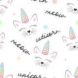 Gato, caticorn, unicornio - modelo inconsútil de la materia textil stock de ilustración