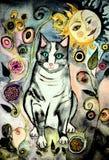 Gato cinzento da arte popular na noite ilustração stock