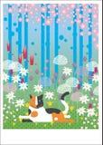 Gato colorido en madera Imagen de archivo libre de regalías