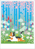 Gato colorido na madeira Imagem de Stock Royalty Free