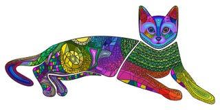 Gato colorido, ornamento, teste padrão, vetor Fotos de Stock