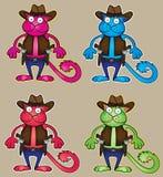 Gato colorido vaqueiro dos desenhos animados com ilustração da arma Imagem de Stock