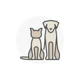 Gato com ícone do vetor do cão ilustração royalty free
