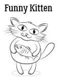 Gato com contornos dos peixes ilustração royalty free