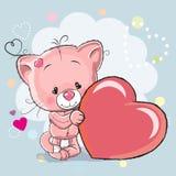Gato com coração ilustração stock