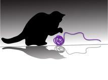 Gato com a esfera das lãs Imagens de Stock