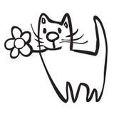 Gato com a flor Ilustração Stock