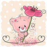 Gato com flor ilustração do vetor