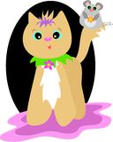 Gato com flor e rato Fotos de Stock Royalty Free