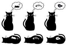 Gato com fome e do bellyful,   Imagens de Stock Royalty Free