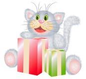 Gato com os presentes Foto de Stock Royalty Free
