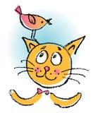 Gato com pássaro Imagem de Stock Royalty Free