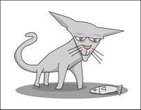 Gato com peixes Imagens de Stock