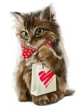 Gato com pintura do presente Fotografia de Stock Royalty Free