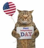 Gato com um balão e uma bandeira Foto de Stock