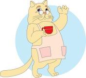 Gato com um copo ilustração stock