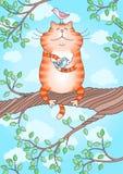 Gato com um pássaro em suas patas Fotografia de Stock Royalty Free