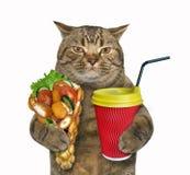 Gato com waffles e latte imagens de stock royalty free
