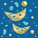 Gato como la luna en un fondo azul El dibujo de los niños de animales stock de ilustración